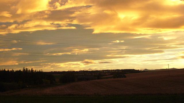 English: View towards Bennachie from Darnabo C...