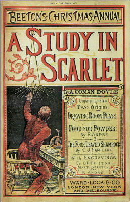 Cover of Beeton's Christmas Annual for 1887, featuring 'A Study in Scarlet' (Wikimedia Commons)