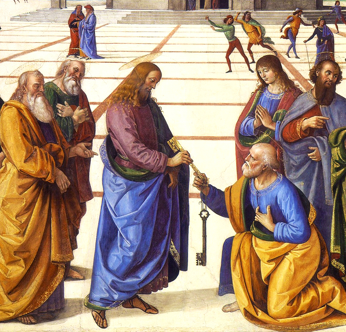 Christ Handing the Keys to St. Peter by Pietro Perugino (1481-82) Fresco, Cappella Sistina, Vatican.