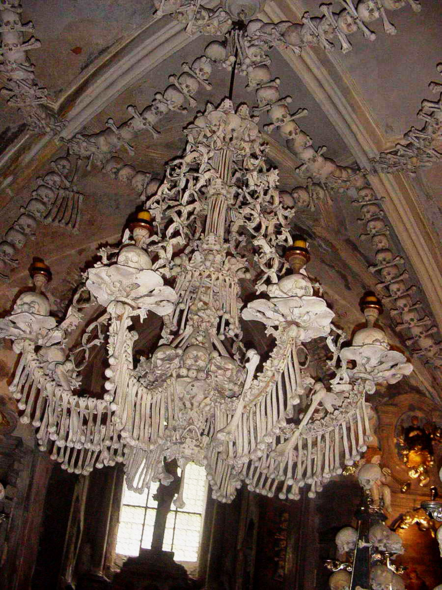 Chandelier of bones and skulls, Sedlec Ossuary...