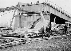 The collapsed Silver Bridge, as seen from the ...