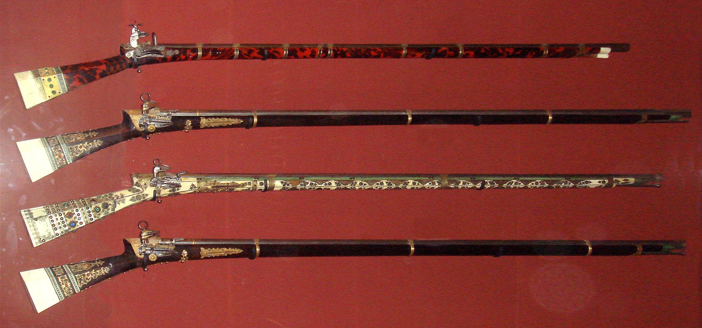 18th century Turkish guns with miquelet locks, circa 1750–1800.