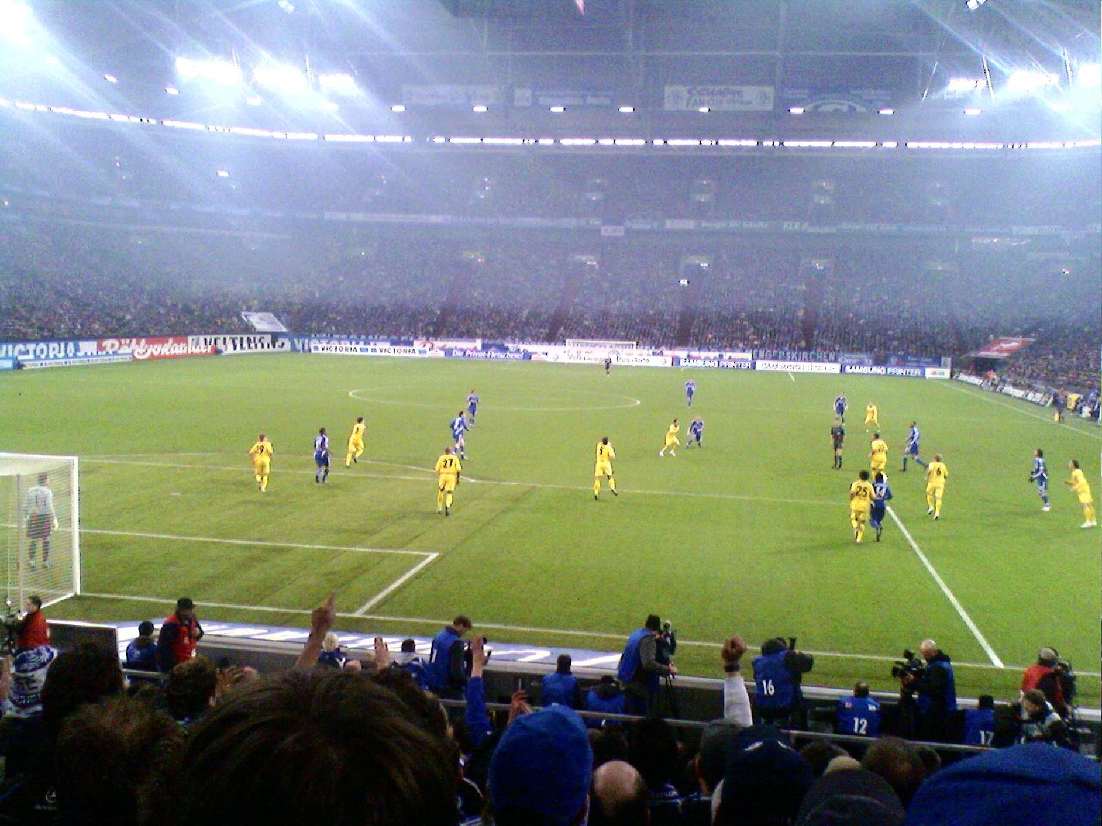 English: Football game in the Arena Auf Schalk...