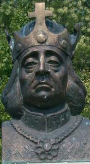 A close up of statue bust of Hungarian king Be...
