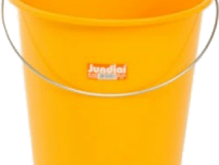 A plastic yellow bucket.
