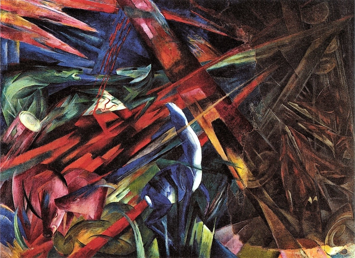 This painting is painted by Franz Marc, a Modernism Painter, and he used abstract expression in the painting. It looks like bunch of colors splattered on the picture, but if one looks closely at the painting, there are animals in the painting, showing a gloomy expression.