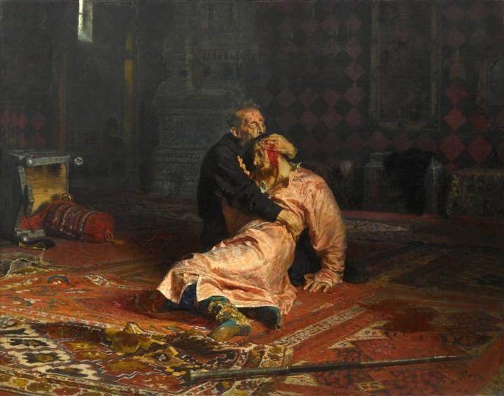 """Ivan the Terrible and His Son Ivan on November 16, 1581"" by Ilya Repin, 1885. Historian Charles J. Halperin"