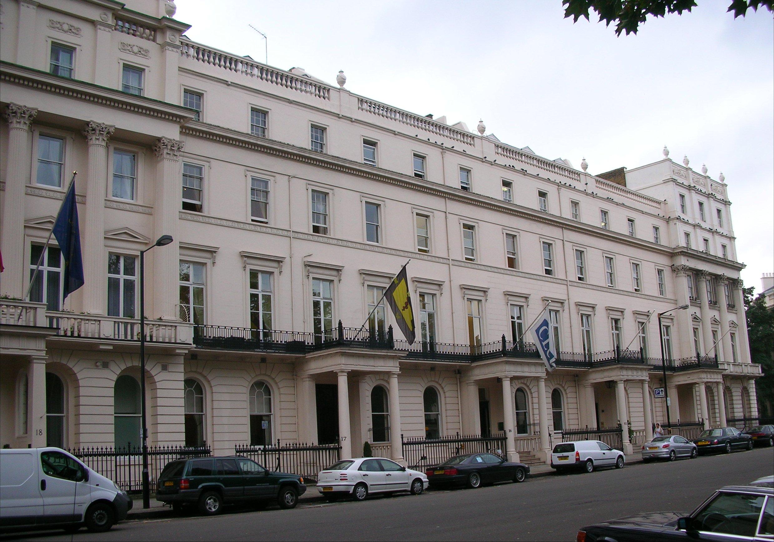 Հոգեբույժների Արքայական Քոլեջ, Լոնդոն, Անգլիա: Դեղին դրոշով շենքը: