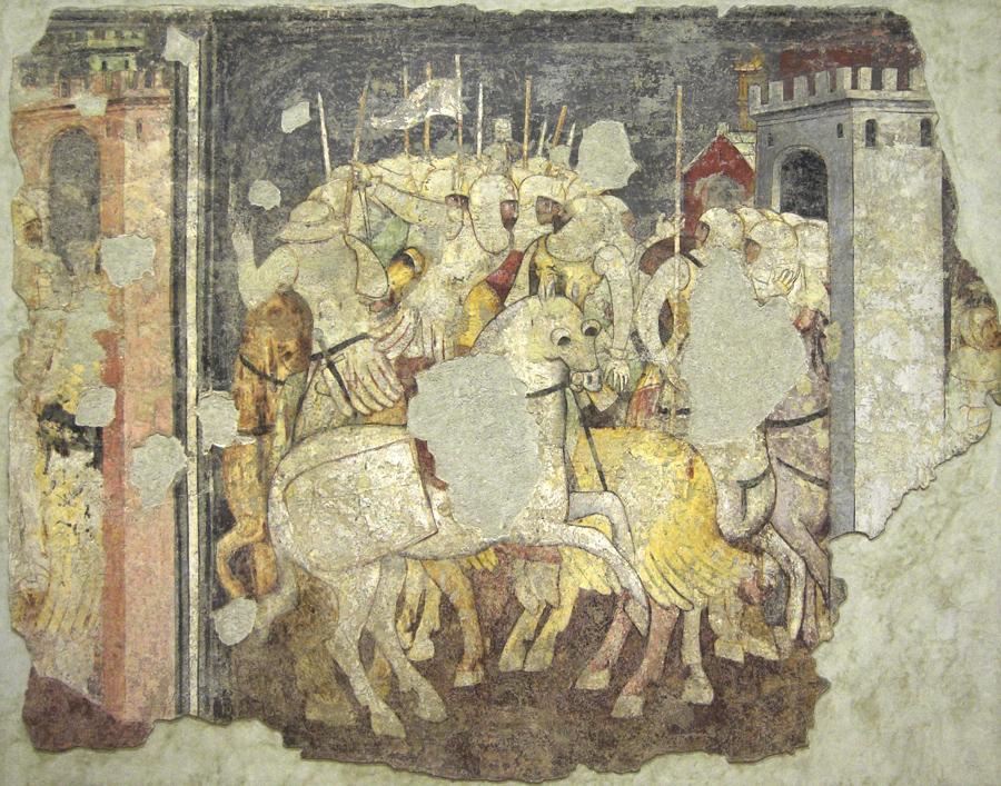 Affresco rappresentante cavalieri durante una battaglia, esposto presso il museo di Castel Vecchio