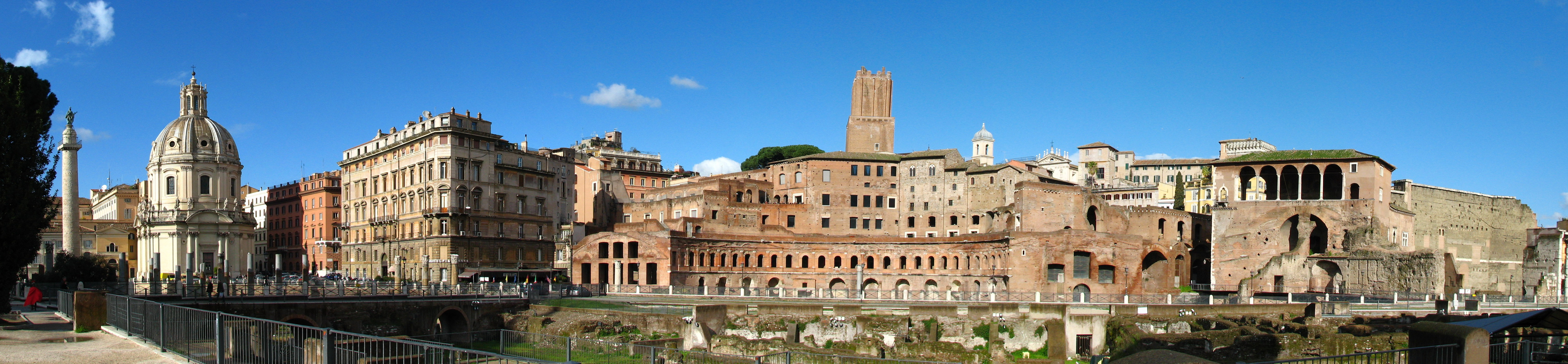 A panoramic view of the Trajan's Forum in Rome, on the far left is the Trajan's Column.