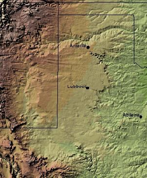 English: Shaded Relief Map of the Llano Estaca...