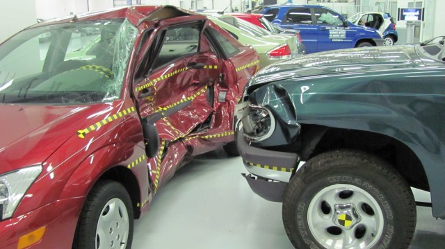 Truck and car side impact collision.