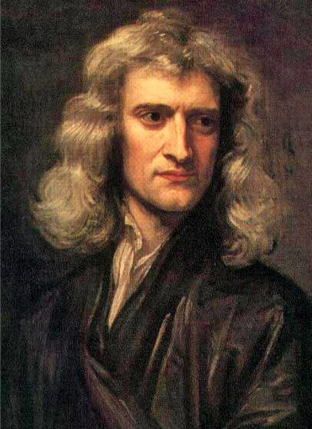 Image of a portrait of Isaac Newton (1642-1727). The portrait of Newton is a copy of one painted in 1689 by Sir Godfrey Kneller, which is owned by the 10th Earl of Portsmouth. This copy was painted by Barrington Bramley and donated to the Isaac Newton Institute for Mathematical Sciences in 1992 by the Director of the Institute, Sir Michael Atiyah, who unveiled it at the opening in July of that year. It shows Newton at the height of his scientific acumen, before he went to London to take charge of the Mint.