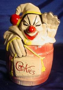 Cookie jar depicting clown.