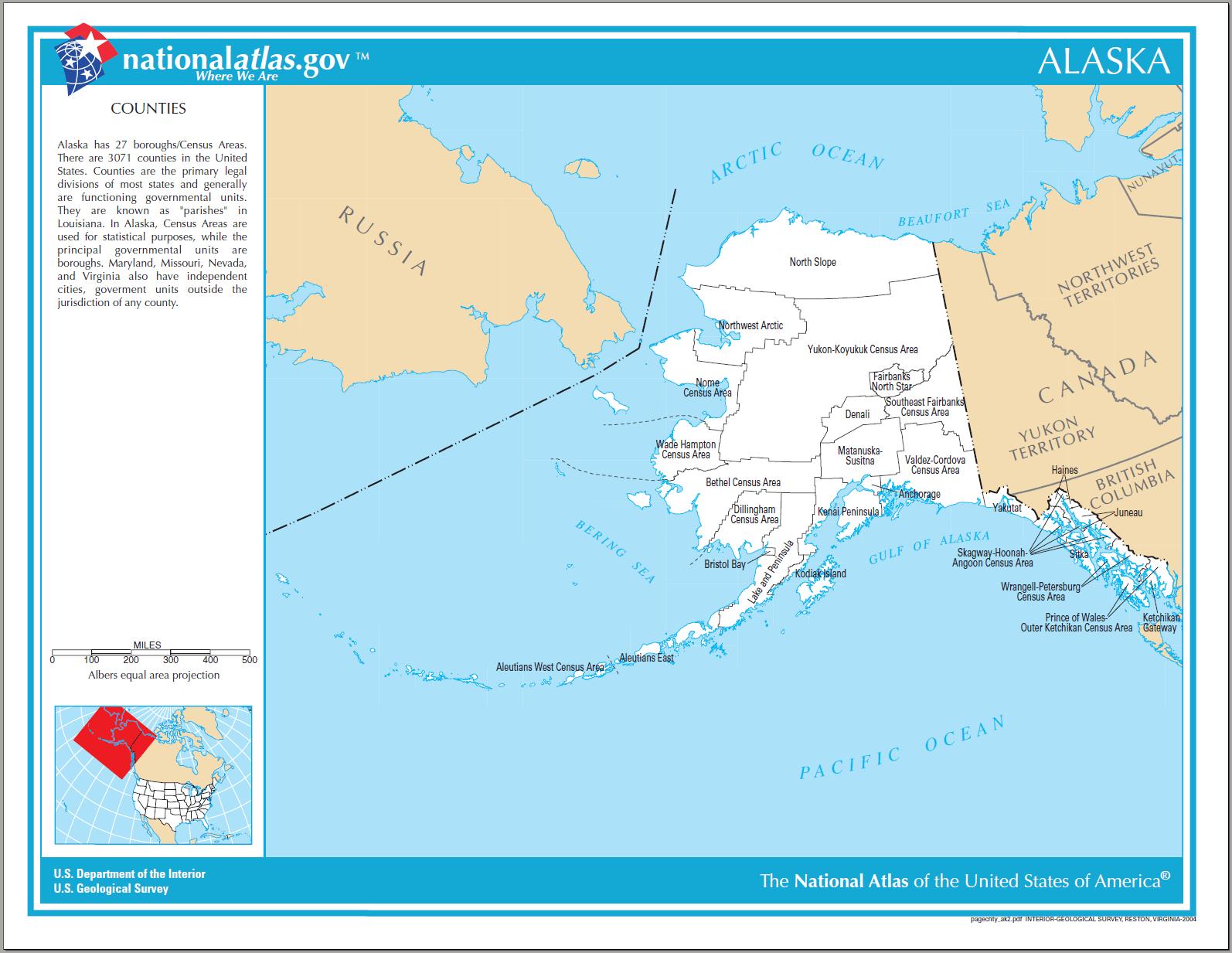 Printable Alaska County Map