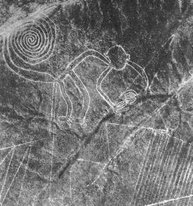 This aerial photograph was taken by Maria Reiche, one of the first archaeologists to study the lines, in 1953.