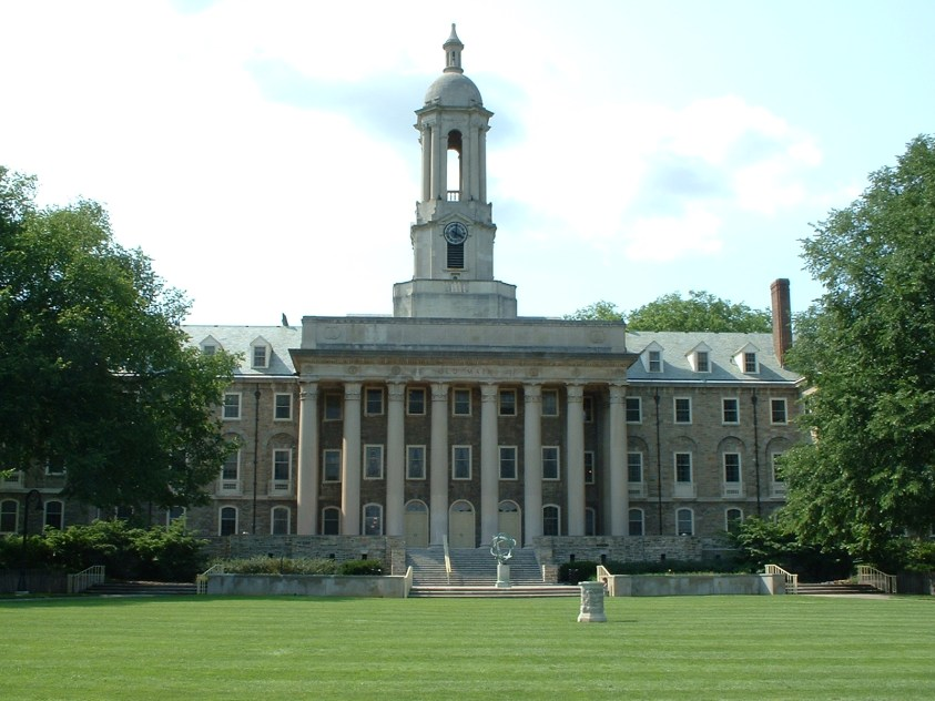 Main entrance of Old Main, at Penn State Unive...