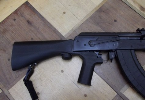 Slide Fire Solutions SSAK-47-XRS-RH Bump Fire Stock mounted on a GP WASR-10/36 AK-47 (Source: Wikipedia)