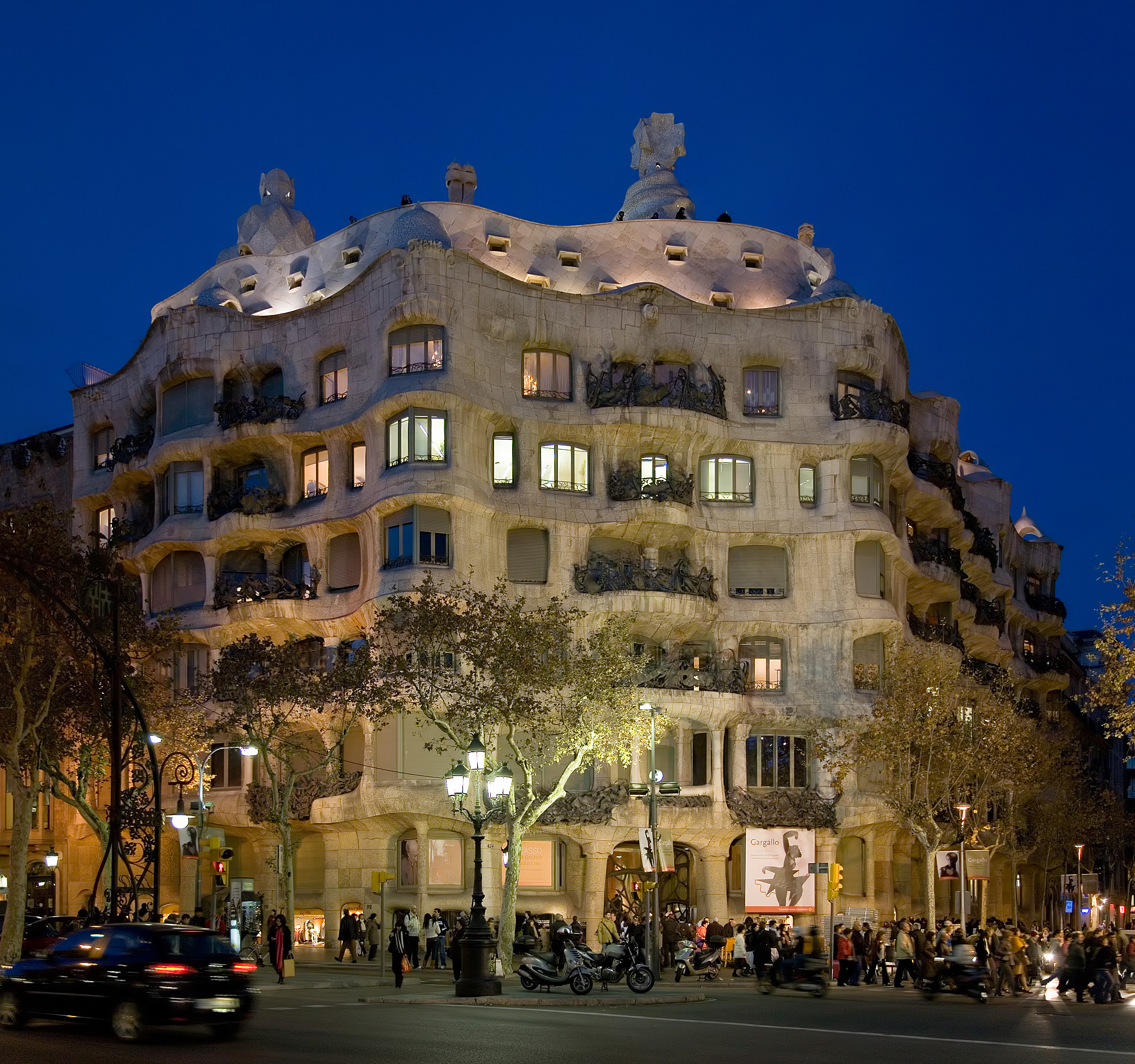 Casa Milà at dusk in Barcelona, Spain. The bui...