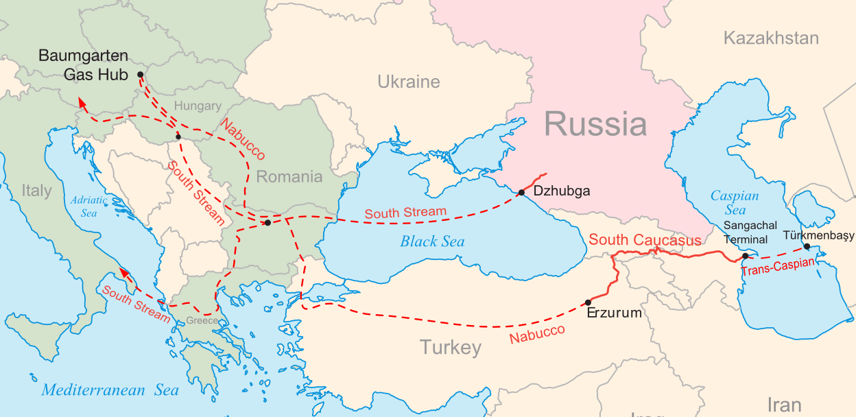 English: Map of the South Stream and Nabucco n...