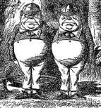 English: Tenniel illustration of Tweedledum (l...