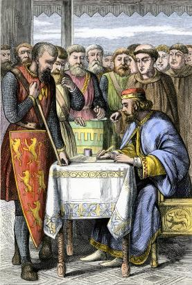 King John of England signing Magna Carta on Ju...