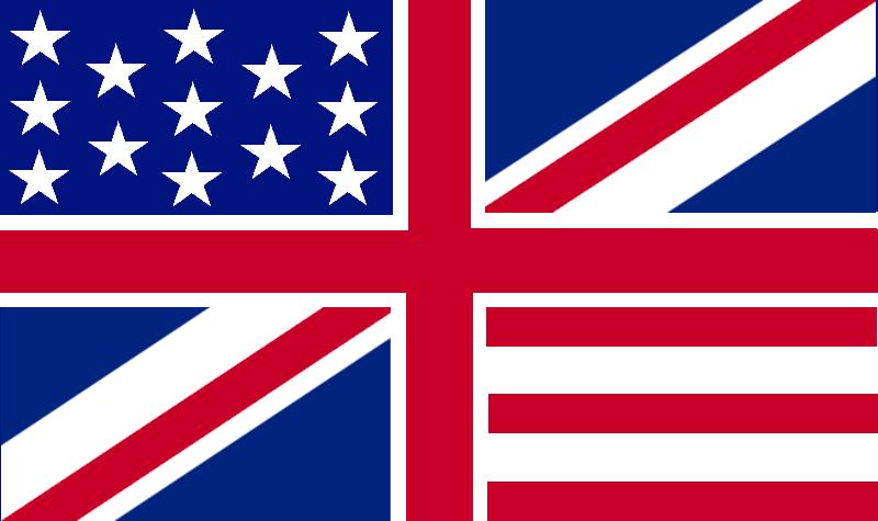 English: Hypothetical flag quartering the Brit...