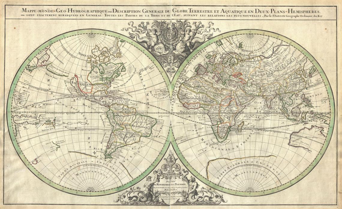 1691 Sanson Map of the World on Hemisphere Projection   Geographicus   World2 sanson 1691 17th Century Fashion