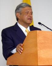Obrador during a speech in October 2005