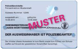 Baden-Württemberg Neuer Polizeidienstausweis Rückseite