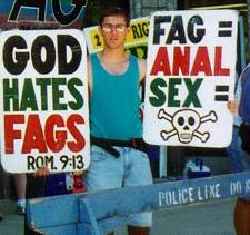 English: Westboro Baptist Church member Benjam...