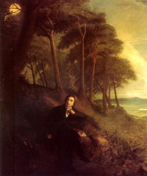 Portrait of Keats, listening to a nightingale on Hampstead Heath