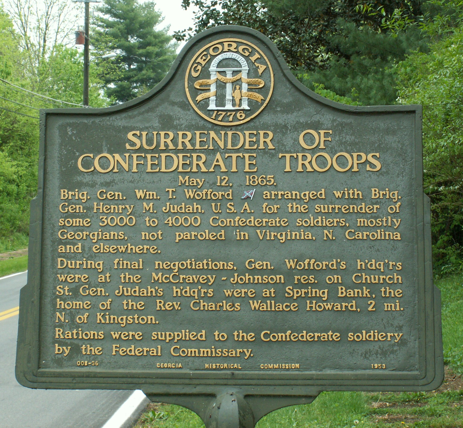 File Surrender Confederate Forces North Georgia Plaque
