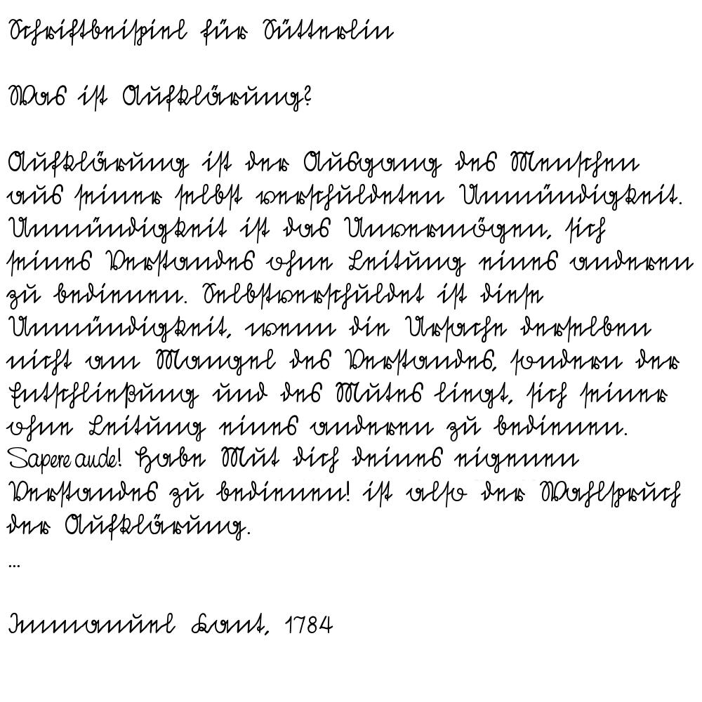 Schriftbeispiel für die Schriftart Sütterlin, von BK, Public Domain