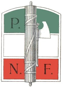 The fasces, an emblem of fascism, the symbol of the National Fascist Party.