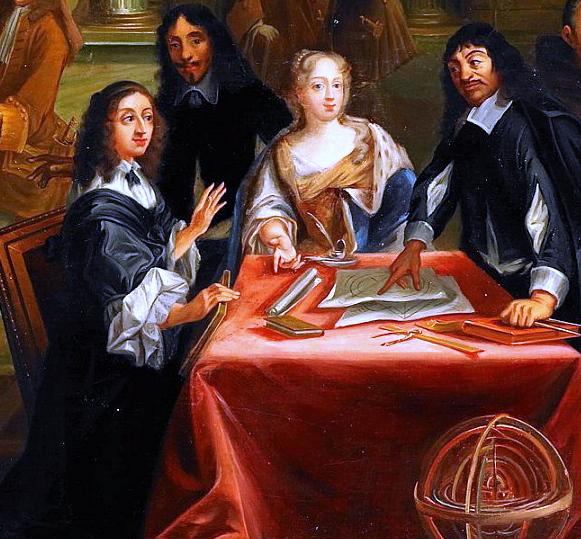 Detail from René Descartes i samtal med Sveriges drottning, Kristina.