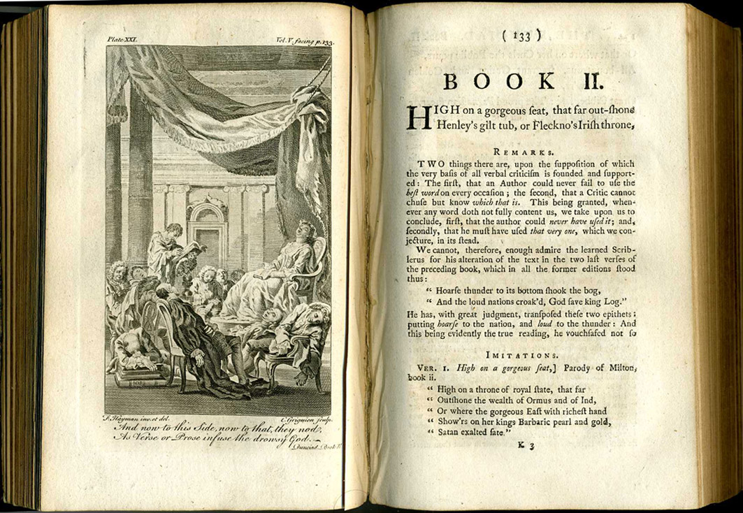 Dunciad Book II 1760 illustration, showing the Goddess and poets asleep. 1760 Collected (Warburton) edition of Pope, London, Vol V. Artist F. Hayman, Engraver C. Grignion, Scanner & uploader Steven J. Plunkett. (Wikimedia Commons)