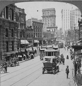 old black and white photo of Peachtree Street,...