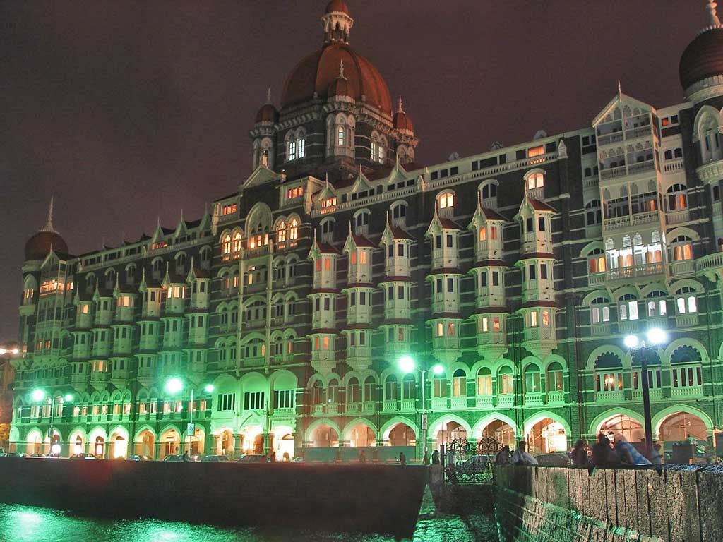 Taj Mahal Palace & Tower Hotel in the night, a...