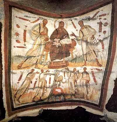 El Señor rodeado de Pedro y Pablo. Catacumbas de santos Marcelino y Pedro. Roma