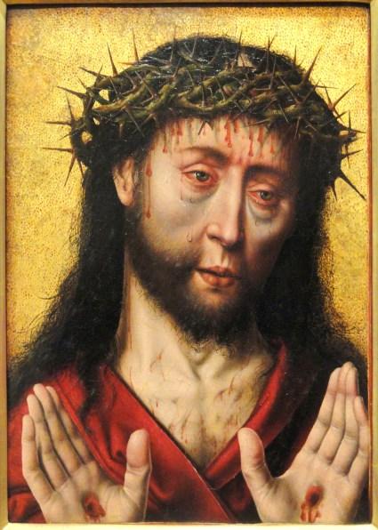 Cristo Sofrente, por Aelbrecht Bouts, 1490. Imagem de Cristo flagelado, com coroa de espinhos, chagas nas mãos e lágrimas nos olhos, sob fundo dourado.