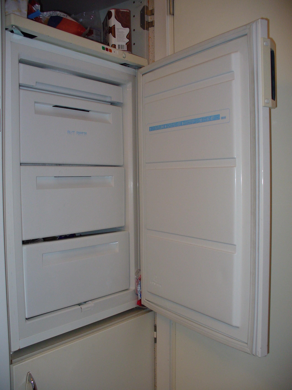 Freezer with open door.