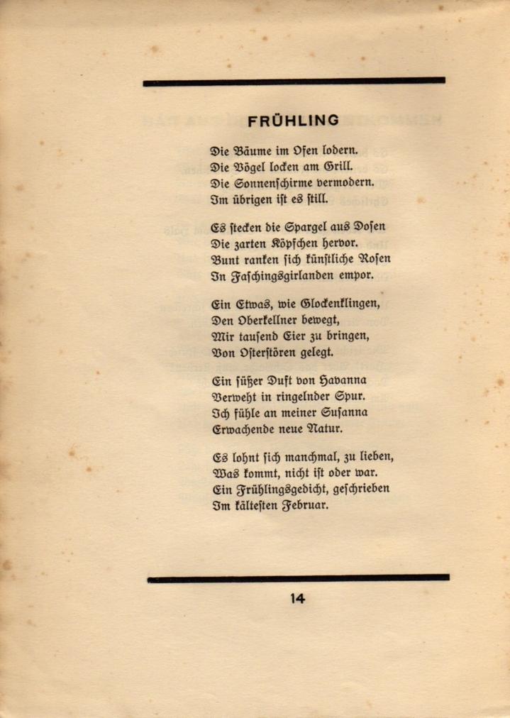 Gedicht In Der Bi Sprache Joachim Ringelnatz