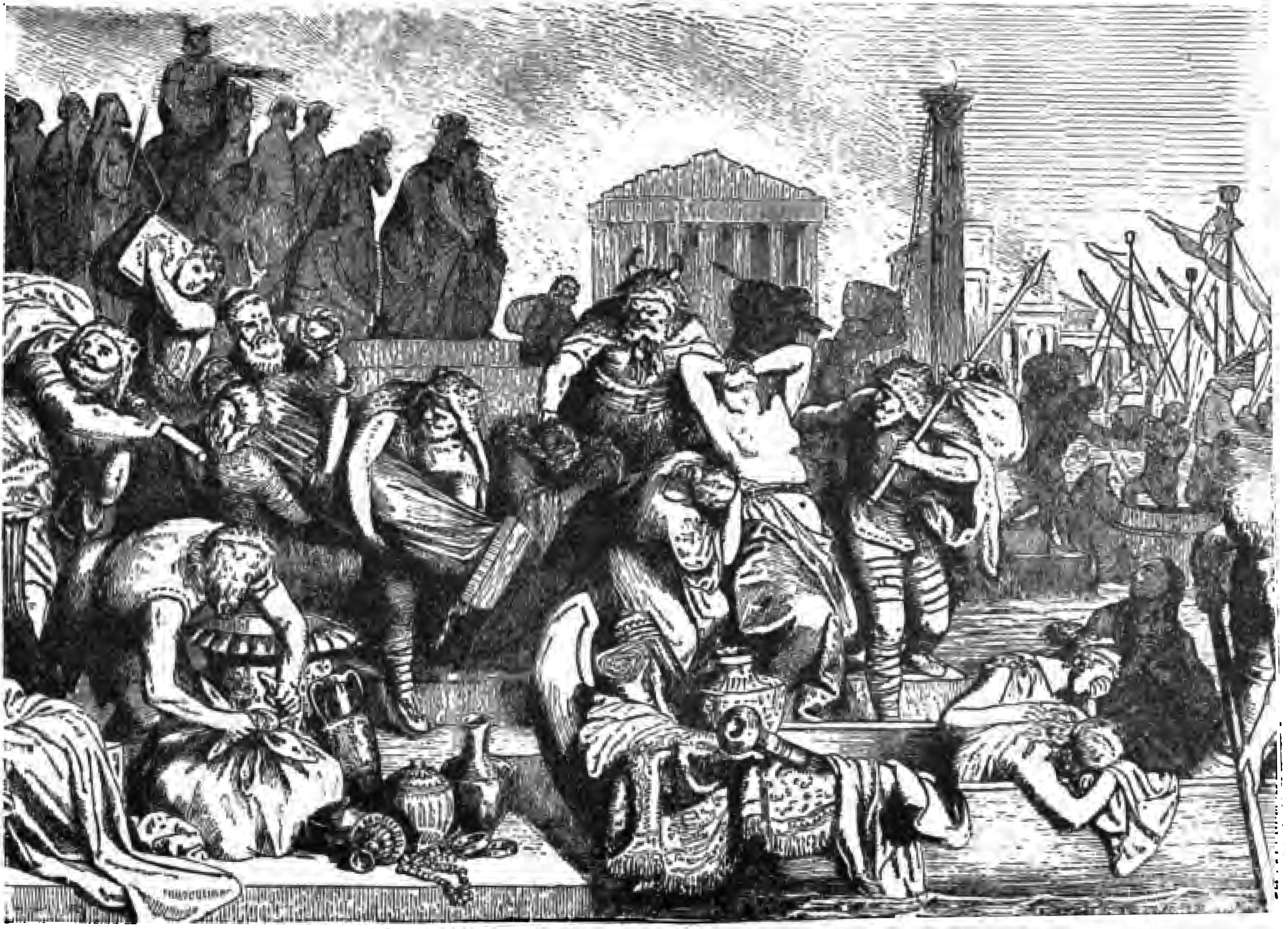 Plündernde Vandalen aus Yonge, Charlotte M. 1880. Young Folks' History of Rome  . Boston: Estes & Lauriat. Page 401, Lizenz:public domain/gemeinfrei