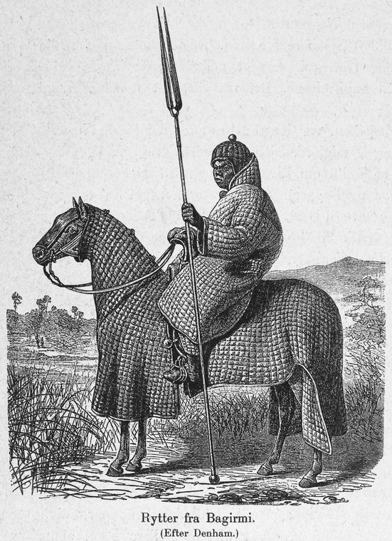 Equestrian warrior in full armor of quilted including horse (Sultanate Bagirmi).