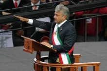 "López Obrador being proclaimed ""Legitimate President of Mexico"" by his supporters in November 2006[88]"