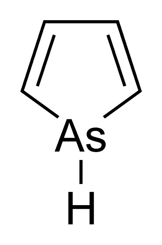 The structure of arsole, a five-membered ring of carbon and arsenic with two double bonds.