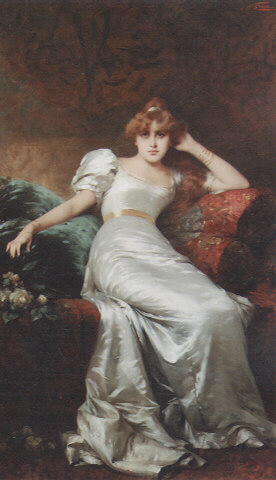English: An elegant beauty. Oil on Canvas, 195...