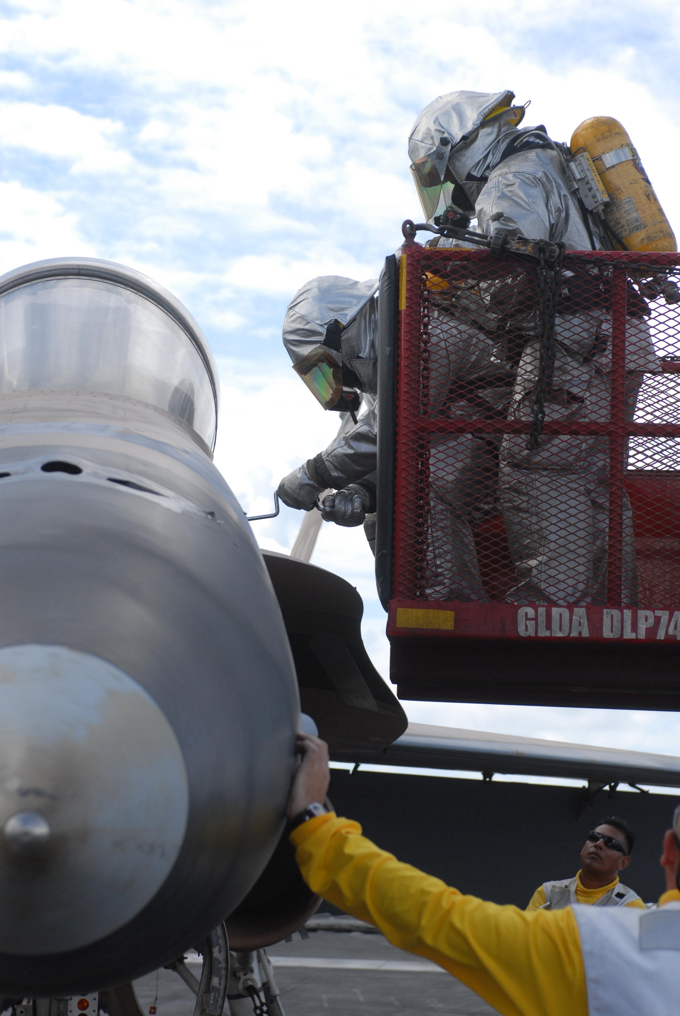 FileCrash And Salvage Team Performs Flight Deck Drills