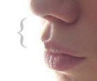 English: Philtrum highlighted by light